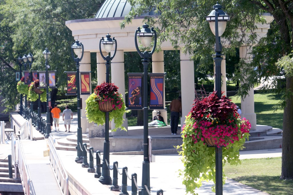 Hanging flower baskets in Pere Marquette Park.